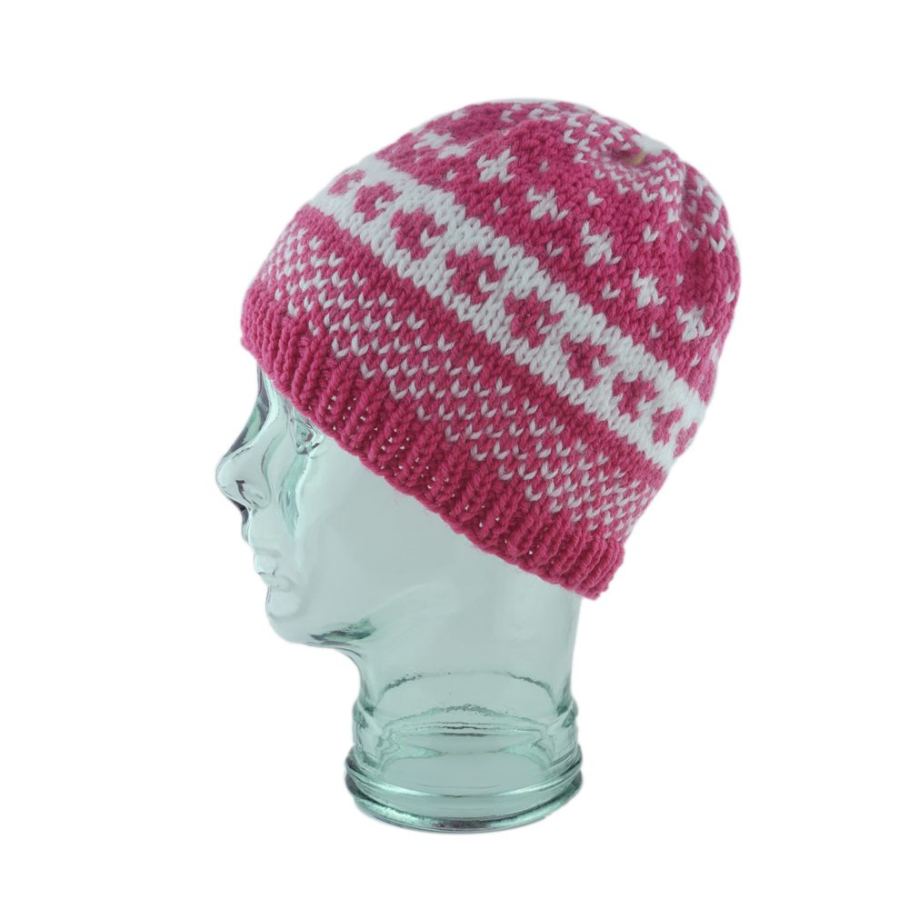 Pink & White FairIsle Knit Hat